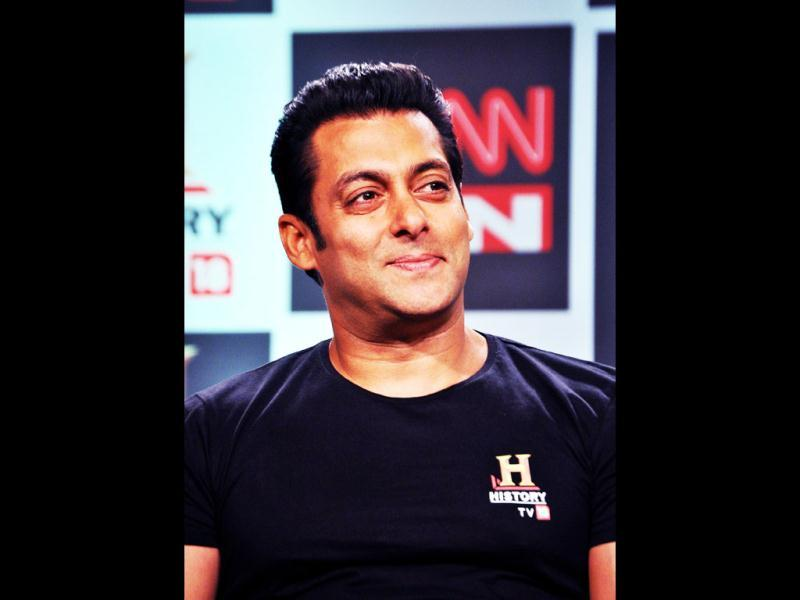 Salman Khan unveils the History TV18's 3 Big Initiatives at a press conference in Mumbai on February 24.