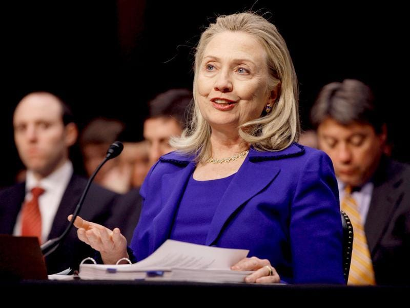 US secretary of state Hillary Clinton testifies before the Senate Foreign Relations Committee about the department's FY2013 international affairs budget in Washington, DC. AFP