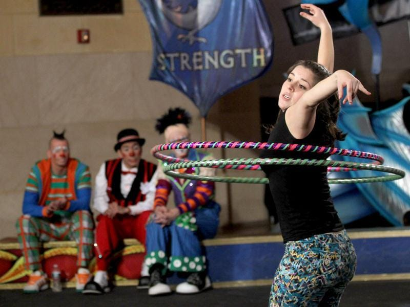 Auditioner Shlomit Oren performs during Ringling Bros. and Barnum & Bailey circus