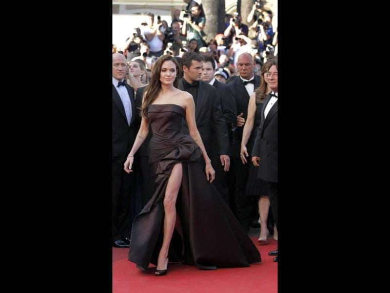 Jolie donned chocolate brown slit dress at the Cannes film festival too. (Photo Credit: AP)