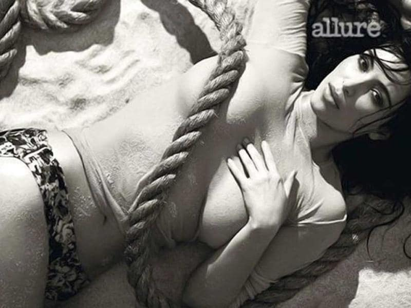 Kim Kardashian shows off her curves in a shipwreck themed photoshoot for Allure magazine.