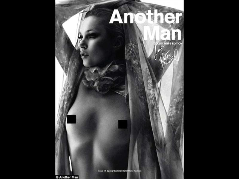 Kate Moss has bared her top for the limited edition cover of Another Man magazine, flaunting her youthful chest in the Spring/Summer 2012 issue.