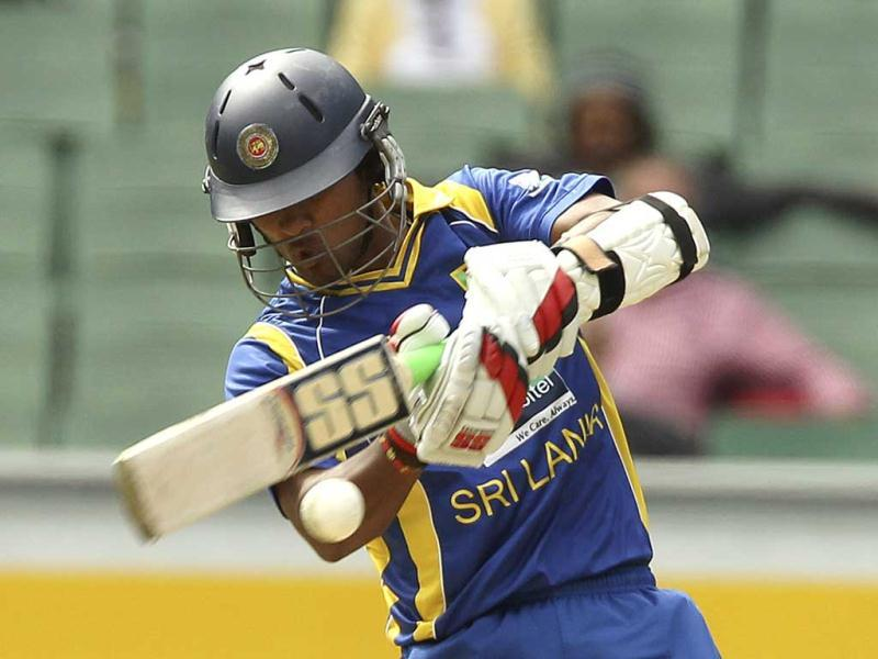 Sri Lanka's Dinesh Chandimal hits a four during their one-day series cricket match against Australia at the Melbourne Cricket Ground. Reuters/Brandon Malone