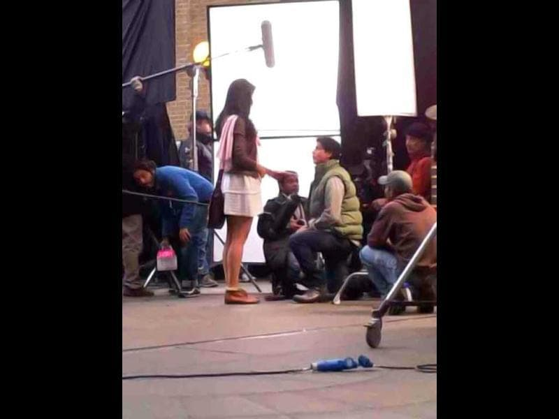 Shah Rukh Khan and Katrina Kaif were spotted shooting for Yash Chopra's comeback film in London.