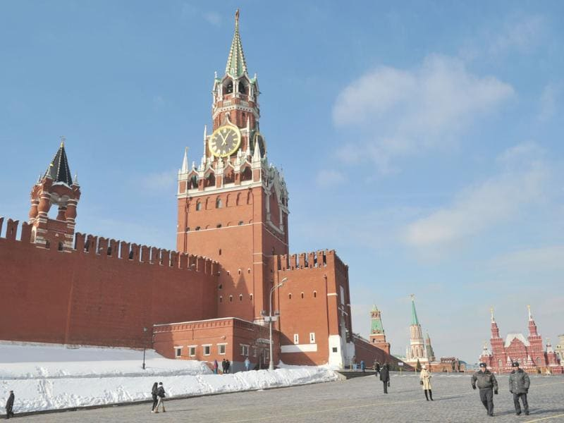 The Kremlin wall and towers dominate the skyline at the Red Square in Moscow. AFP Photo/Sergei Supinsky