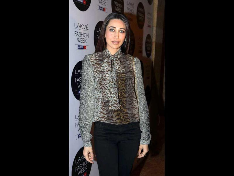 Karisma Kapoor also made her presence at the Lakme Fashion Show. (AFP Photo)