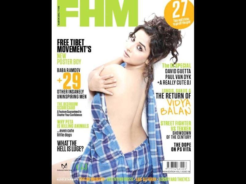 Vidya Balan looks provocative on the cover page of FHM's March edition.