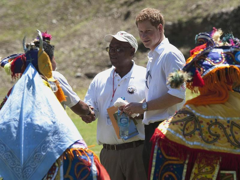 Britain's Prince Harry visits the Mayan temple at Xunantunich , Belize, on the second day of his ten-day tour to Belize, Bahamas, Jamaica, and Brazil.  (AP Photo/Mark Large/Daily Mail /PA Wire)
