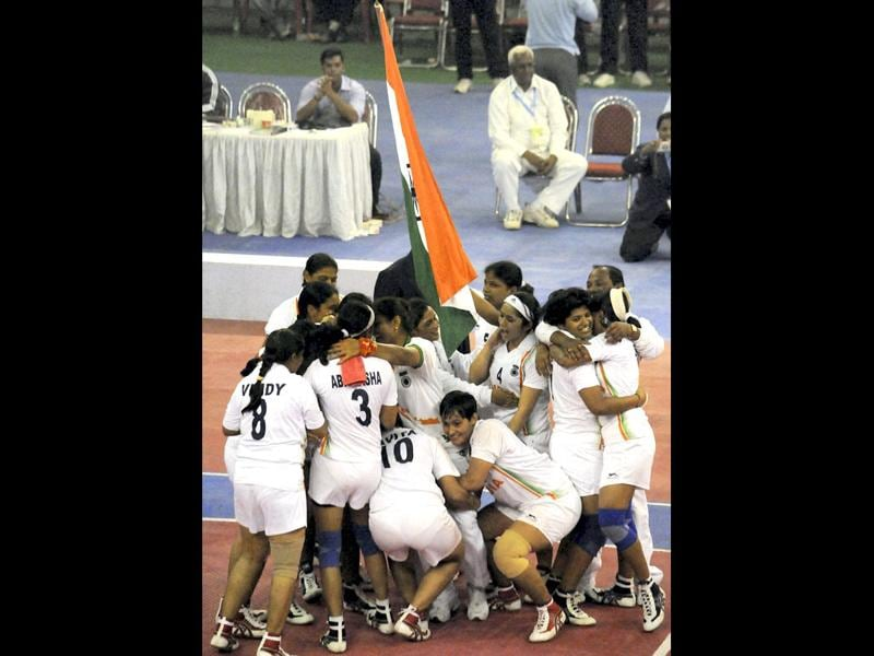 Women's Kabaddi team celebrate after winning the final of the first women World Cup Kabaddi Championship in Patna. PTI Photo