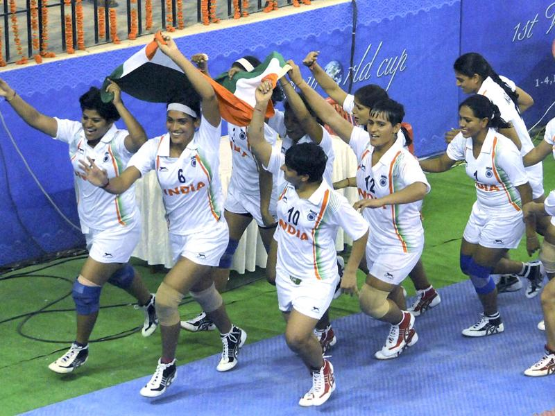 India women's team celebrates victory after winning the final of the first women's World Cup Kabaddi Championship in Patna. PTI Photo