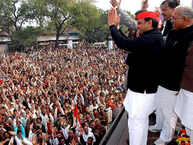 Samajwadi Party state president Akhilesh Yadav said it was hopeful of getting a majority in Uttar Pradesh and party supremo Mulayam Singh Yadav will become the next chief minister. HT/Vinay Pandey