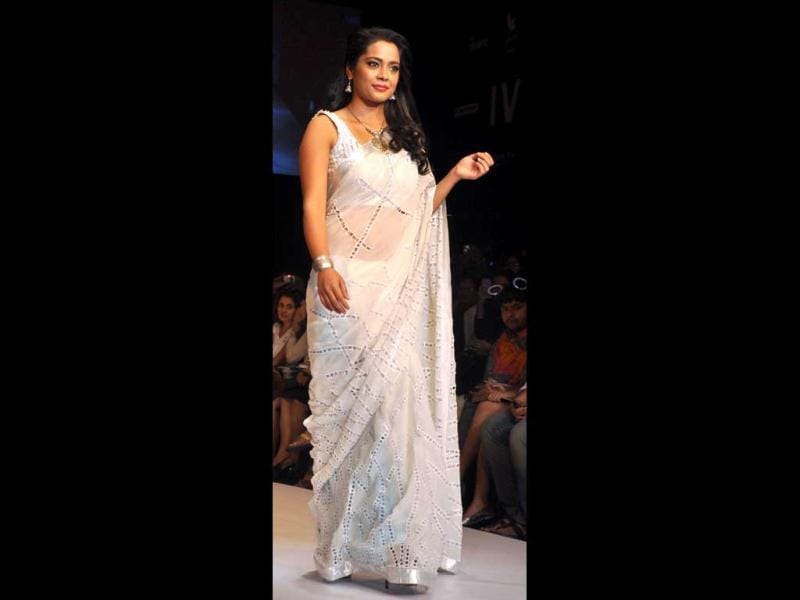 Shahana Goswami displayed creations by designer Debarun on the Day 4 of Lakmé Fashion Week (LFW) summer resort 2012 in Mumbai on March 4, 2012.