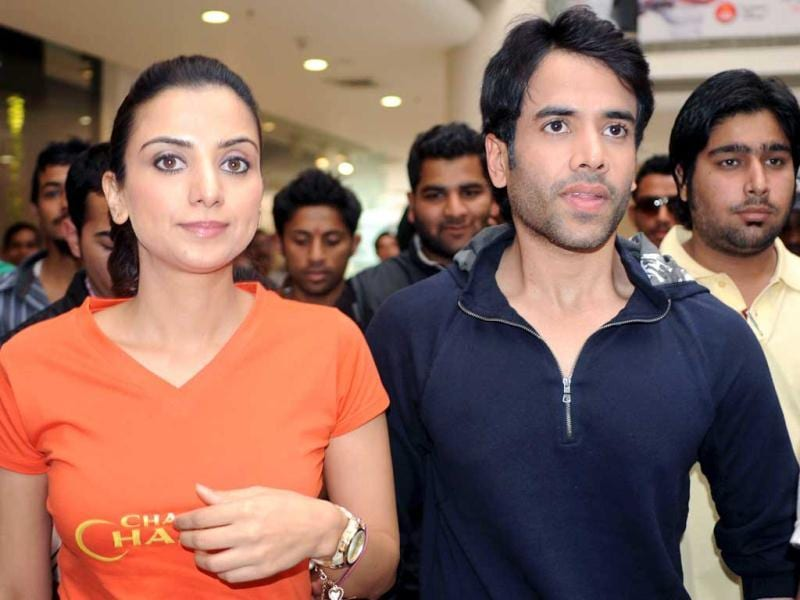 Actors Kulraj Randhawa (L) and Tusshar Kapoor (R) attend a press conference as part of a promotional tour for their upcoming Samir Karnik Hindi film Chaar Din Ki Chandni in Amritsar.