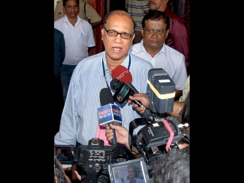 Goa chief minister Digambar Kamat addresses the media after casting his vote at a polling station during the assembly elections in Panaji, Goa. Opposition has blamed Kamat's governance for failing to check on illegal mining in Goa. PTI Photo