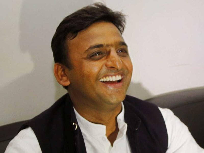 Akhilesh Yadav smiles at the party office in Lucknow. AP/Rajesh Kumar Singh
