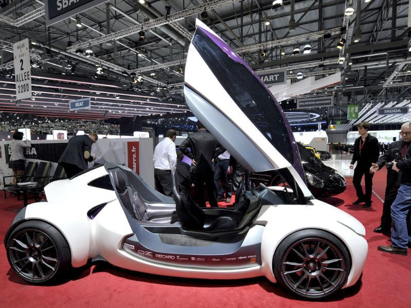 The new Sbarro Montbeliard Electrosport car is shown during the press day at the Geneva International Motor Show. AP Photo/Keystone, Martial Trezzini