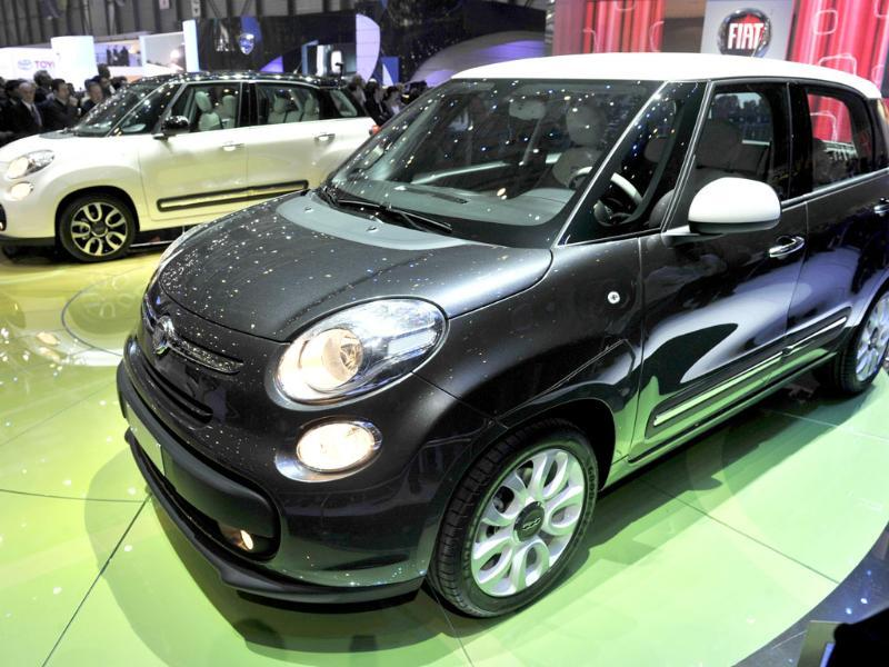 A Fiat 500L Monospace is displayed at the Italian car maker's booth during a press day ahead of the 82nd Geneva Motor Show. AFP Photo/Sebastien Feval