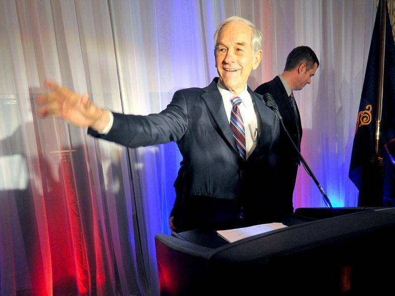 Republican US presidential candidate and US Rep Ron Paul (R-TX) gestures during his speech to supporters at a