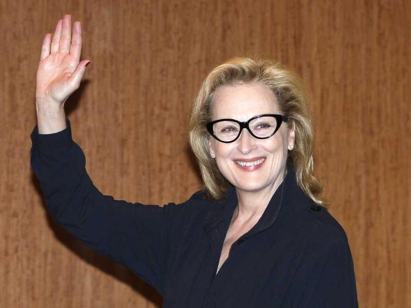 Actress Meryl Streep waves during a press conference to promote her movie The Iron Lady in Tokyo, Japan. AP/Shizuo Kambayashi