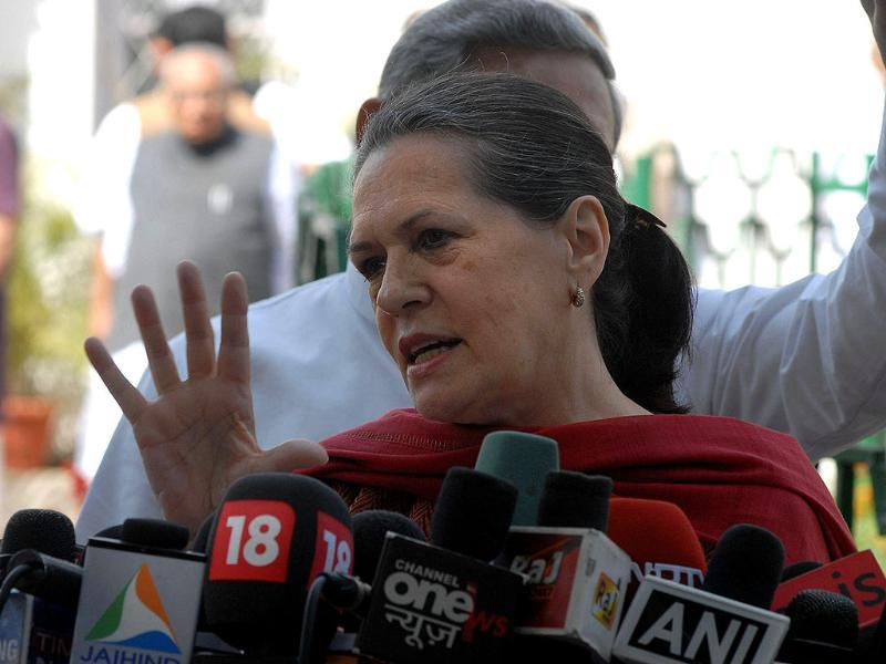 Congress Party president and UPA chairperson Sonia Gandhi gives a press conference in New Delhi. AFP/Prakash Singh