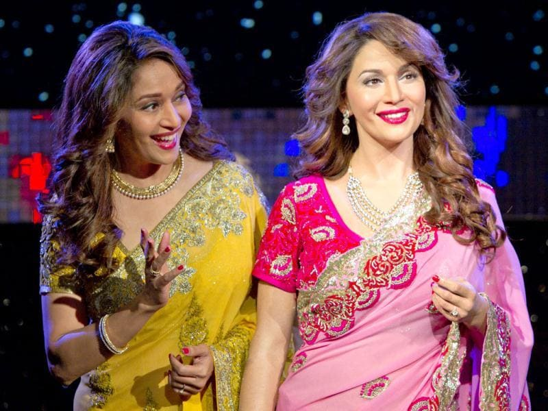 Madhuri seems impressed with her wax doppelganger.