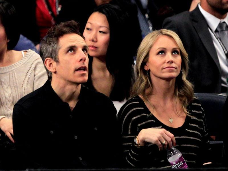 Hollywood actor Ben Stiller and his wife Christine Taylor attend the match between Roger Federer of Switzerland and Andy Roddick of the United States at the BNP Paribas Showdown at Madison Square Garden in New York City. Chris Trotman/Getty Images/AFP