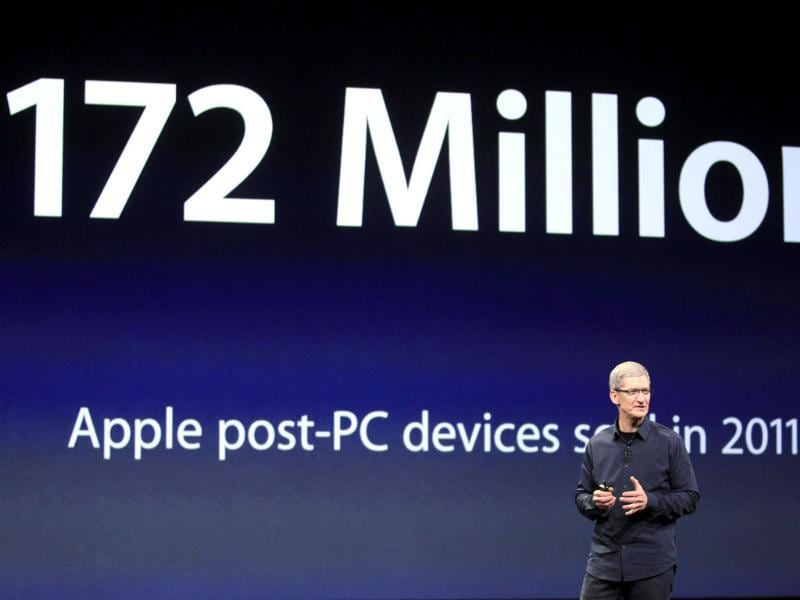 Last year alone we sold 172 million post-PC devices, said Apple CEO Tim Cook during an event in San Francisco. AP Photo/Jeff Chiu