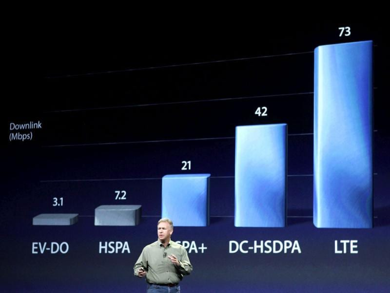 Apple's senior Vice President of Worldwide Marketing Phil Schiller speaks about 4G Long Term Evolution (LTE) during an Apple event in San Francisco, California. Reuters/Robert Galbraith