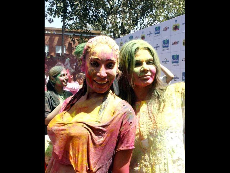 Sofia Hayat and Rakhi Sawant in a colourful mood. (AFP Photo)
