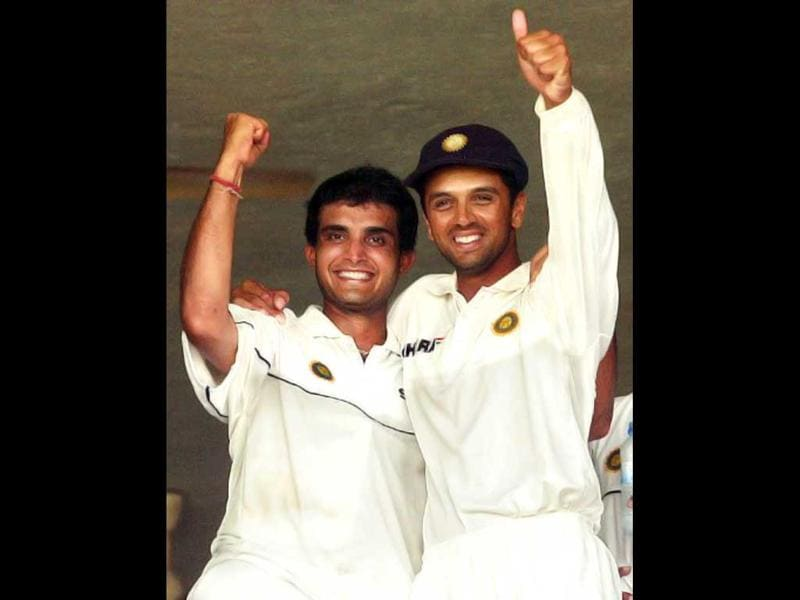 Sourav Ganguly (L) and Rahul Dravid celebrate after India's win over Sri Lanka in a Test match at Asgiriya stadium in Kandy on 25 August 2001. AFP Photo/Arko Datta