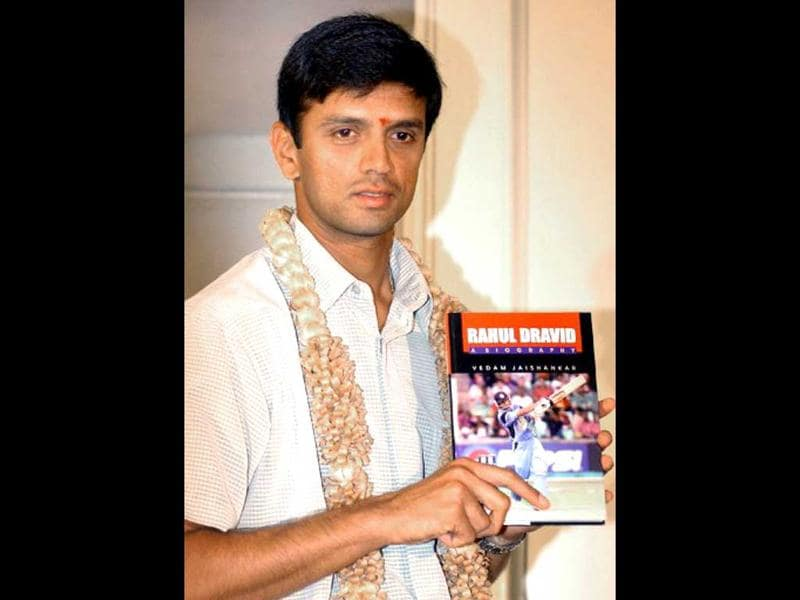 Rahul Dravid poses with a copy of his biography