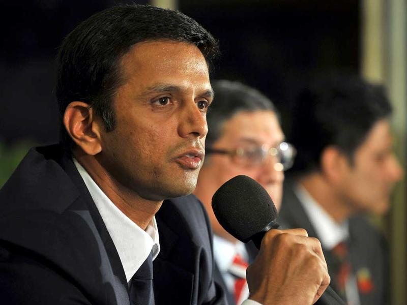 Rahul Dravid addresses the media to announce his retirement from Test cricket in Bangalore on March 9, 2012. Dravid has announced his retirement from international cricket at the age of 39, ending a 16-year career that made him an idol at home and abroad. AFP/Manjunath Kiran