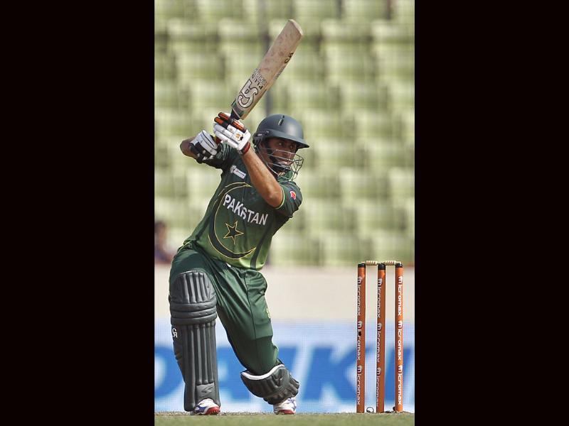 Pakistan's Nasir Jamshed bats against Bangladesh during their Asia Cup cricket match in Dhaka. AP/Aijaz Rahi