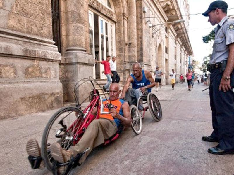 Cuban disabled people participate in the Terry Fox Run, also known as the Marathon of Hope, in Havana. AFP