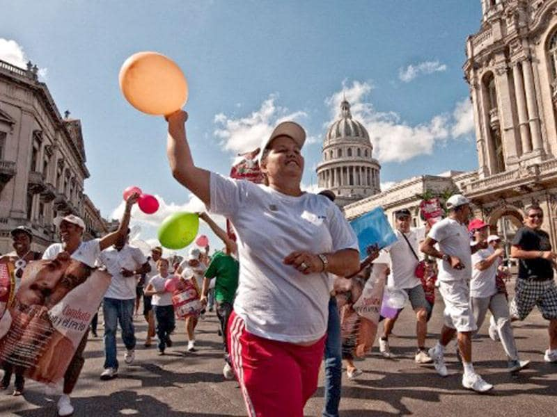 Cuban disabled people participate in the Terry Fox Run in Havana. AFP