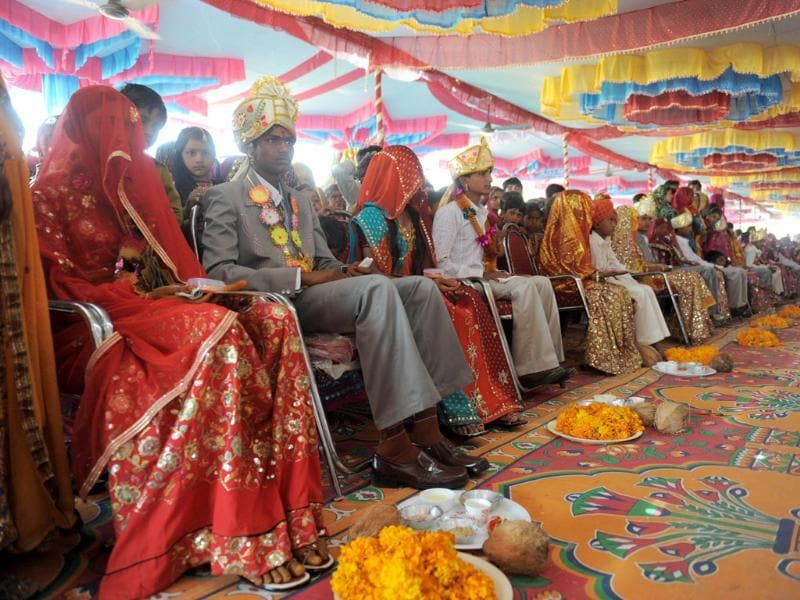 Youth participate in a mass marriage ceremony in the village of Vadia, some 210km north of Ahmedabad. AFP/Sam Panthaky