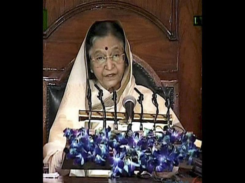 President Pratibha Patil addresses the joint session of Parliament, marking the start of the Budget session in New Delhi. PTI Photo / TV GRAB