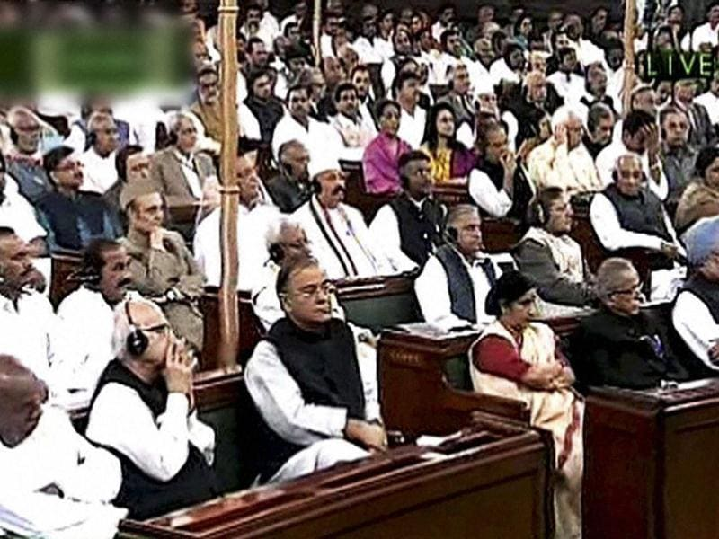 Prime Minister Manmohan Singh, finance minister Pranab Mukherjee, leader of opposition in the Lok Sabha Sushma Swaraj, leader of opposition in the Rajya Sabha Arun Jaitley and other members during President Pratibha Patil's address to the joint session of Parliament, marking the start of the Budget session, in New Delhi. PTI Photo / TV GRAB