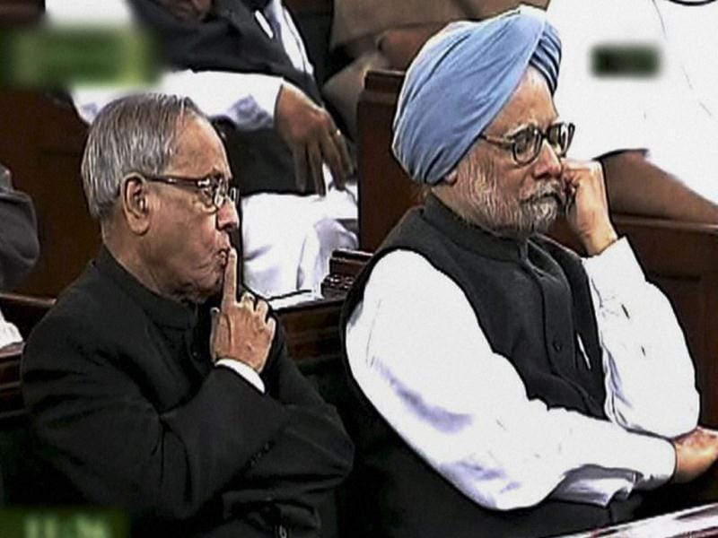 Prime Minister Manmohan Singh and finance minister Pranab Mukherjee during President Pratibha Patil address to the joint session of Parliament, marking the start of the Budget session, in New Delhi on Monday. PTI Photo / TV GRAB