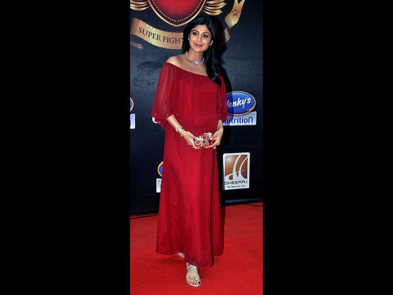 Actor Shilpa Shetty in a deep red gown. (AFP Photo)