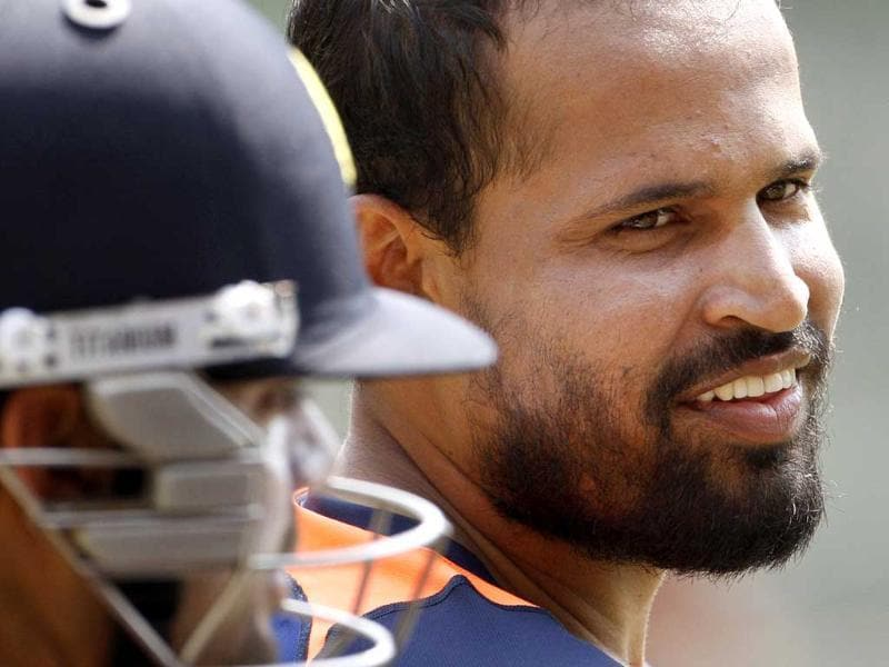 Yusuf Pathan smiles during a training session in the nets in Dhaka, Bangladesh. AP/Pavel Rehman