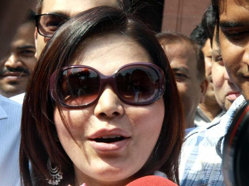 Item girl and actor Rakhi Sawant turned quite a few heads on the Parliament corridors. HT Photo/Sonu Mehta