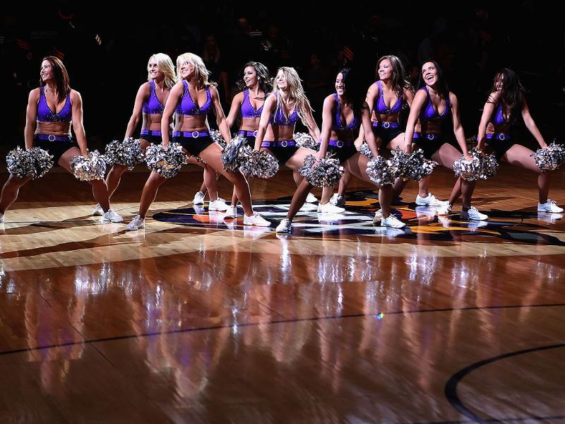 The Phoenix Suns cheerleaders perform during the NBA game against the Minnesota Timberwolves at US Airways Center in Phoenix, Arizona. AFP Photo