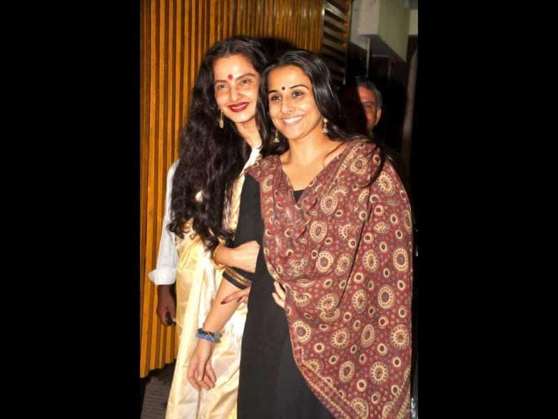 Veteran Bollywood actor Rekha was spotted going for the screening of Kahaani with the film's lead star Vidya Balan.