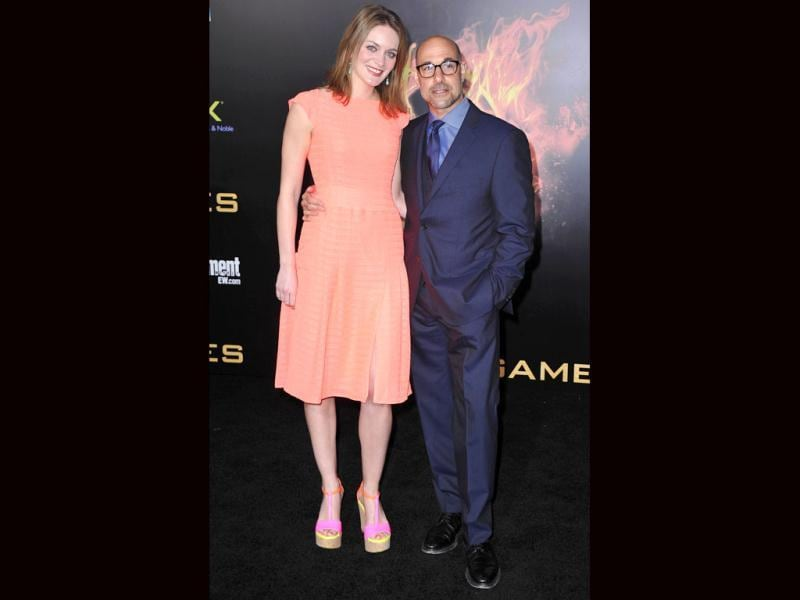 Actor Stanley Tucci arrives at the premiere of Lionsgate's The Hunger Games at Nokia Theatre LA.