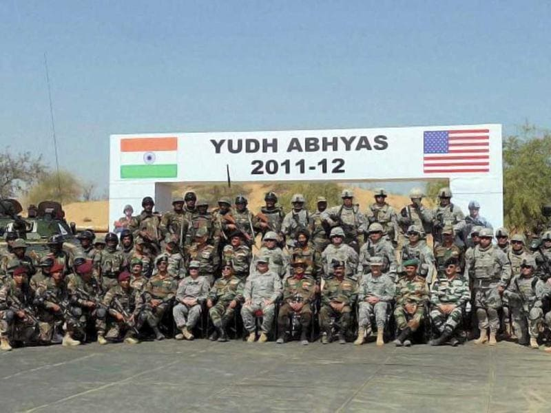 Soldiers of Indian and US armies pose for a group photo at Indo-US military exercise Yudh Abhyas in Mahajan in Jaisalmer. PTI Photo