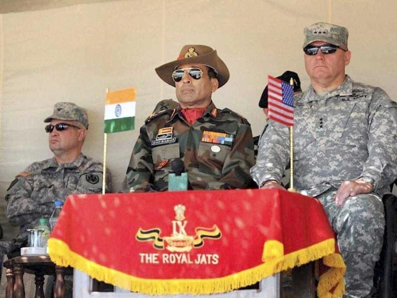 Officers of Indian and US armies at Indo-US military exercise Yudh Abhyas in Mahajan in Jaisalmer. PTI Photo