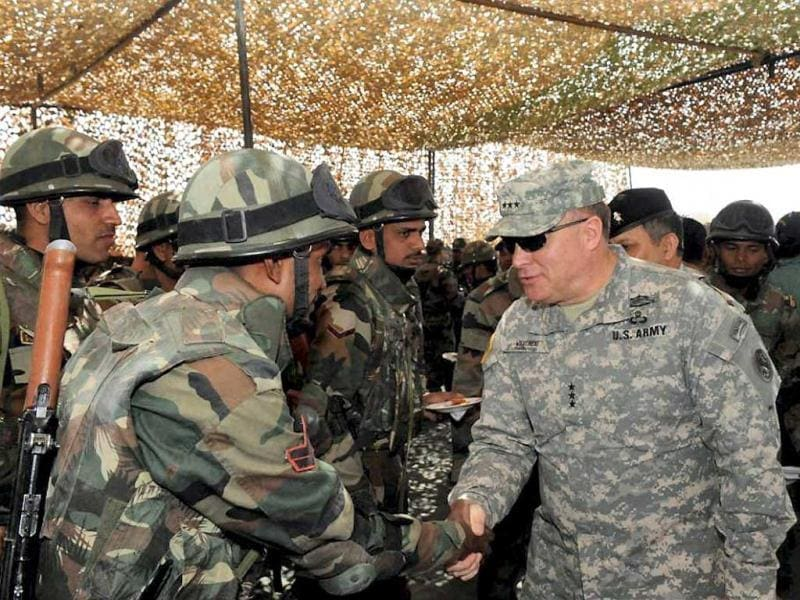 An officer of US army meeting soldiers of Indian army at Indo-US military exercise Yudh Abhyas in Mahajan in Jaisalmer. PTI Photo