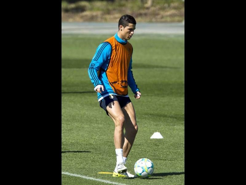 Cristiano Ronaldo kicks the ball during a training session at the Valdebebas stadium, one day ahead of a Champions League round of 16, second leg soccer match against CSKA Moscow, in Madrid. AP/Daniel Ochoa de Olza