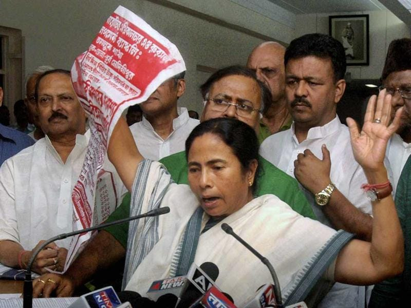 West Bengal chief minister and TMC boss Mamata Banerjee declared that she will not not allow any hike in railway fares proposed in the Rail Budget by her own nominee Dinesh Trivedi, the railway minister. PTI Photo
